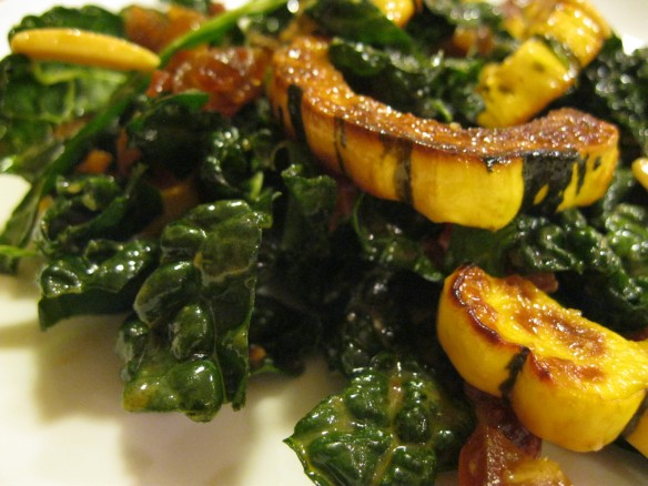 kale, bacon, date, and squash salad