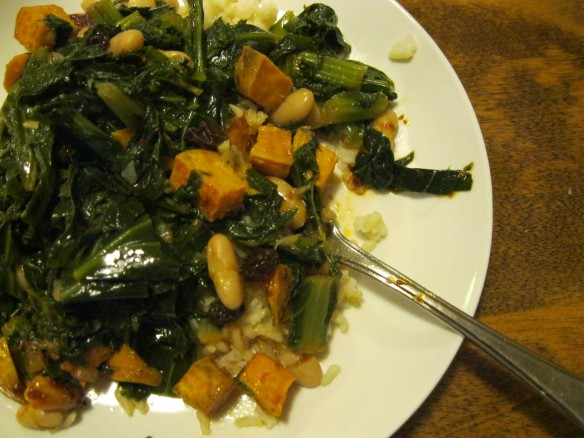 greens, sweet potato, and cannelini beans