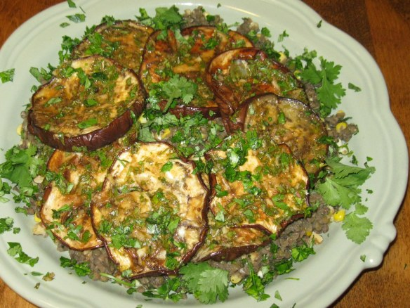 eggplant, lentils, and corn with charmoula