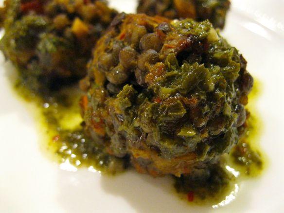 lentil ball sauced
